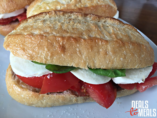 Recipe:  Vegetarian, meatless meal, Recipe:  Vegetable, Caprese Sandwiches, Deals to Meals