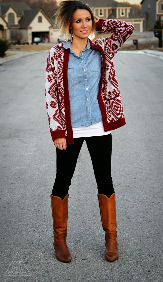 Red Aztec cardigan paired with chambray, black pants and tan vintage boots