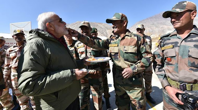 PM Modi celebrating Diwali with jawans