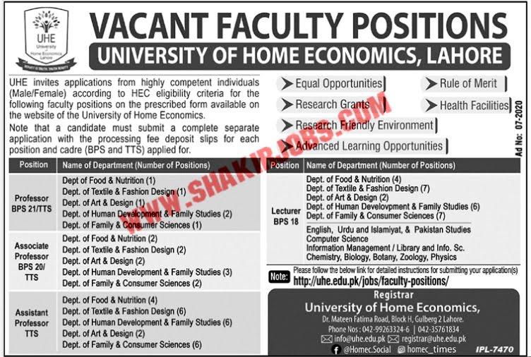 Jobs in University of Home Economics Lahore Jobs September 2020 (67 Posts)