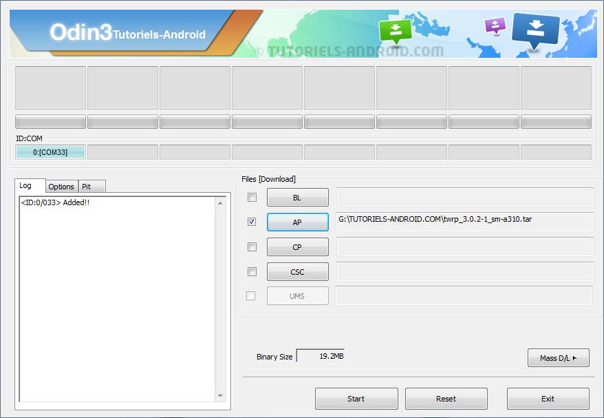 Odin3 : placer fichier .tar de TWRP - SM-A310