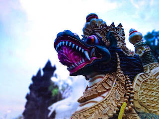 Dragon Statue At The Front Of Courtyard Gardens At Buddhist Temple, North Bali, Indonesia