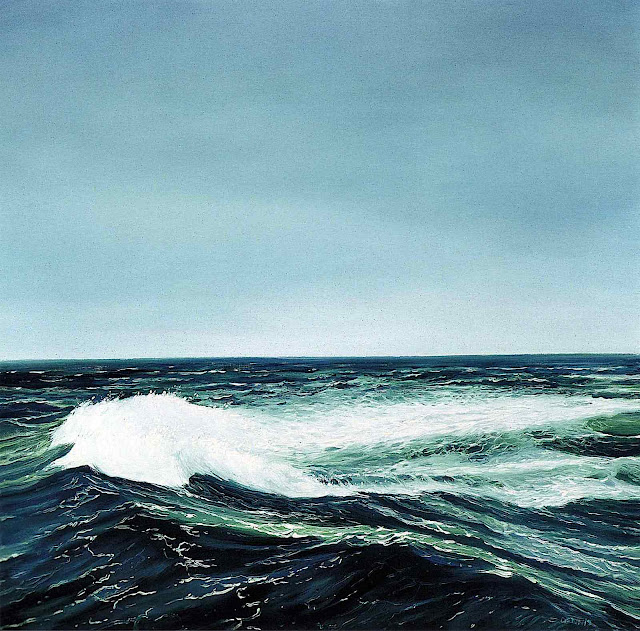 a Marc Dennis painting of dynamic ocean wave energy