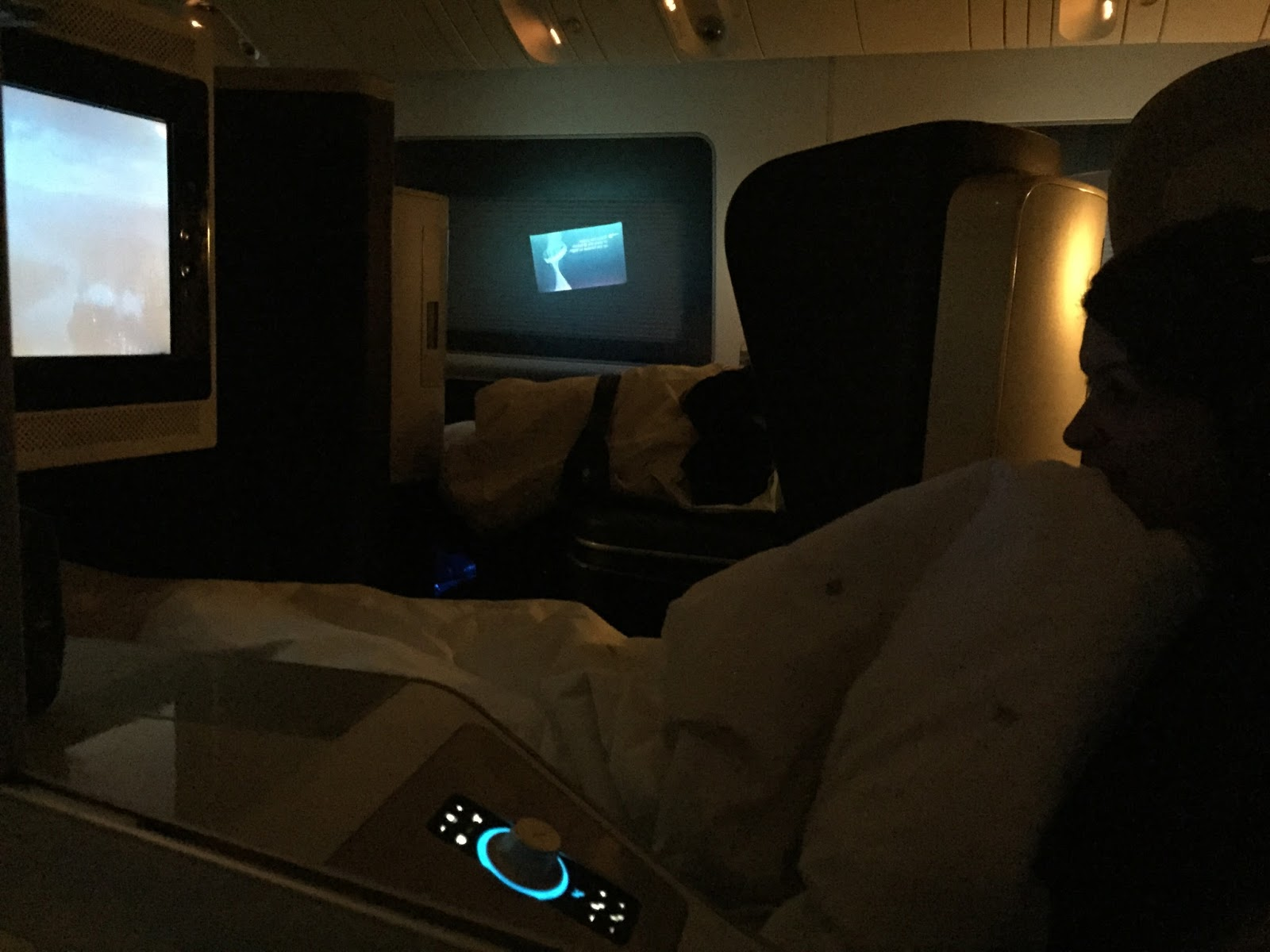 BA First Class seat and screen