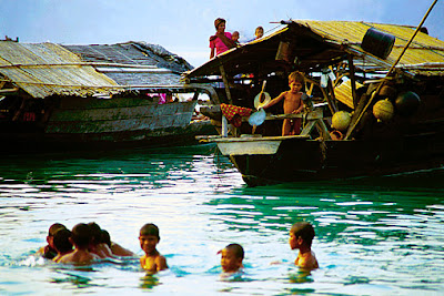 living on houseboats in the Andaman Sea