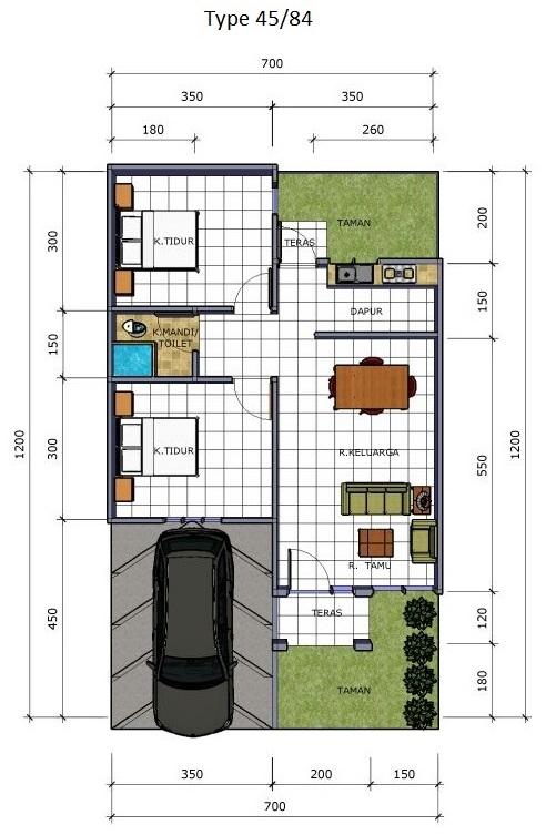Ide Gambar Denah Rumah Type 36 Tanpa Garasi, Gambar Rumah
