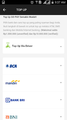 cara top up aplikasi go jek