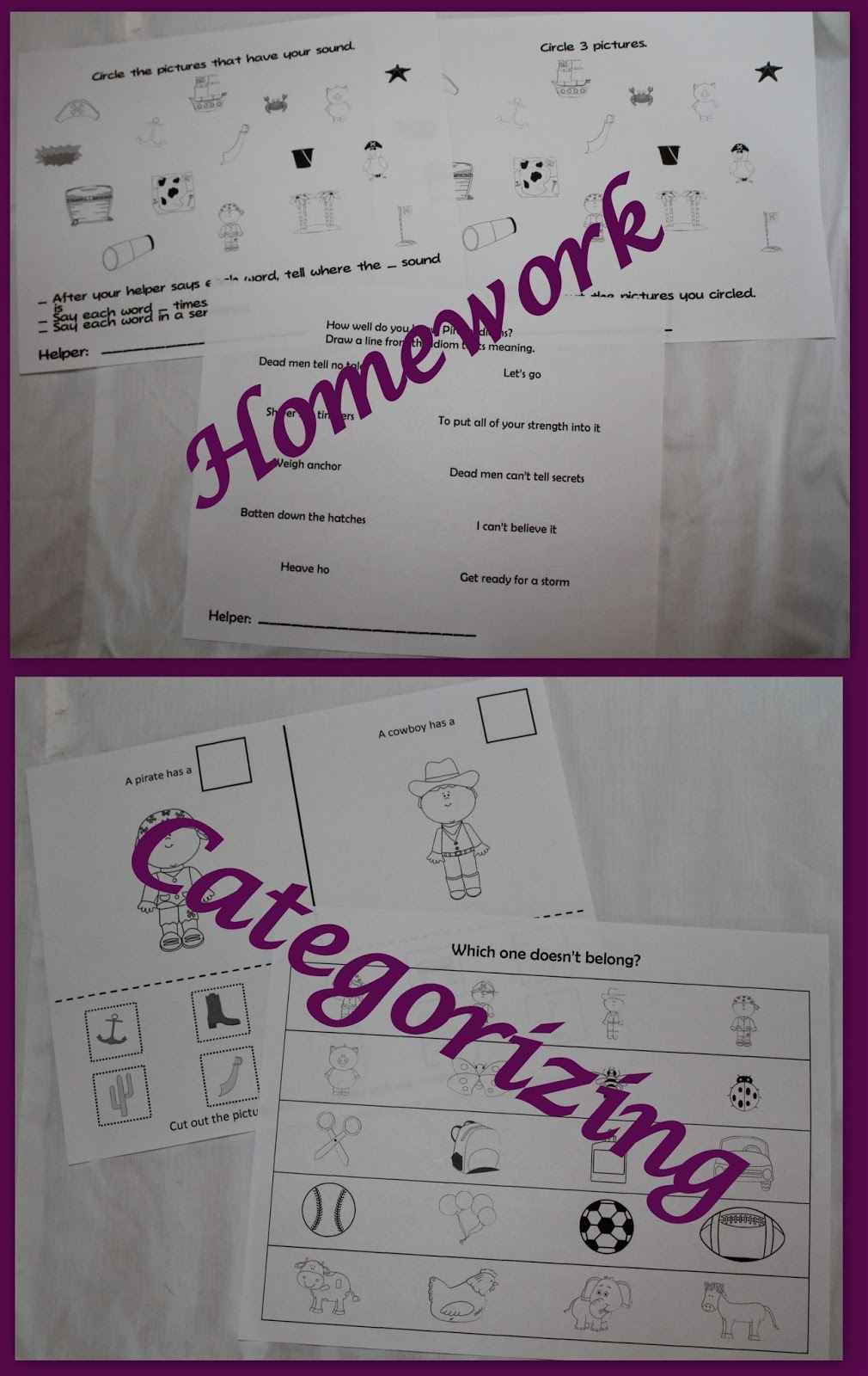 September 2015Old School Speech  September 2015 There are general artic homework sheets  describing homework sheet  and a  pirate idiom sheet that can be sent home  There is a sorting sheet and a   what