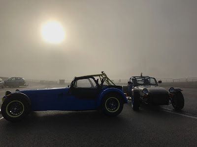 Mine and Andy Morgan's 2017 Caterham Academy Cars - picture taken around midday - extremely poor visibility
