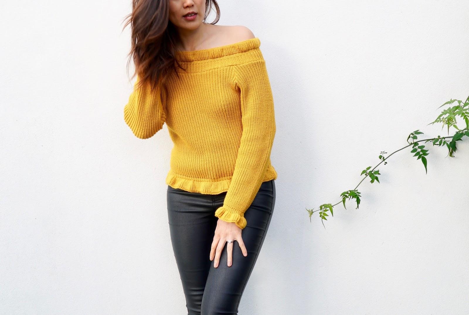 mustard bardot jumper