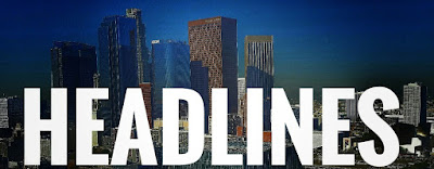 "Local photograph of L.A. skyline with the word ""Headline"" in bold."