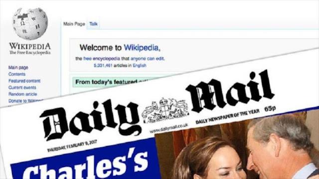 Wikipedia elimina como su fuente a Daily Mail por ser poco fiable