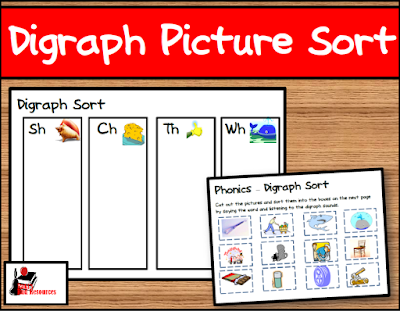 Free digraph picture sort for your literacy centers from Raki's Rad Resources.