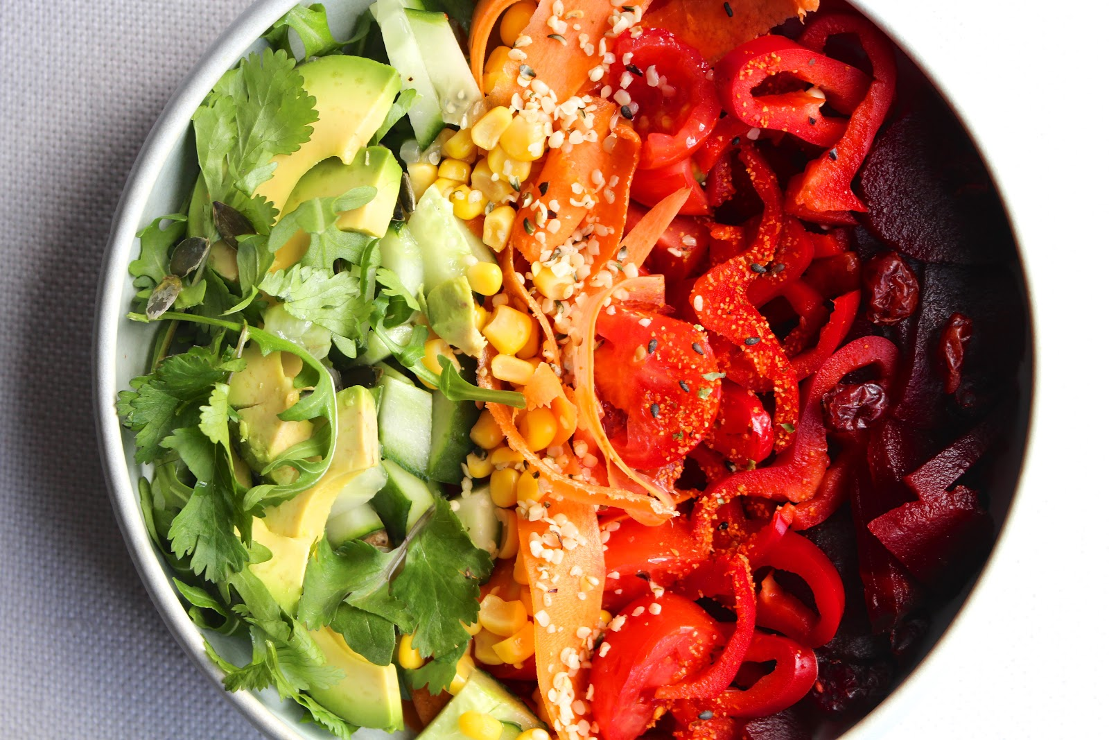 Rainbow salad bowl recipe - vegan & raw