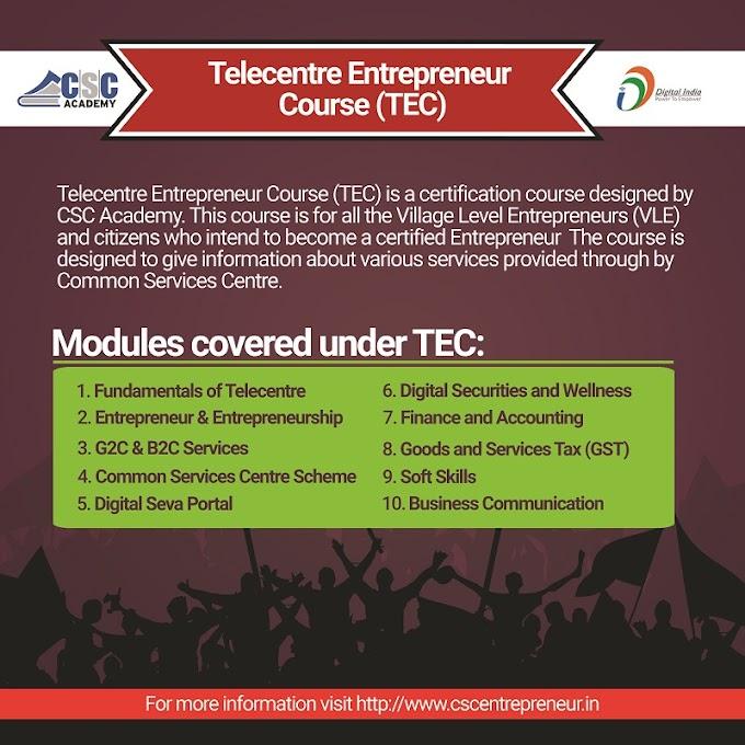 Become a certified Entrepreneur under Telecentre Entrepreneur Course (TEC)