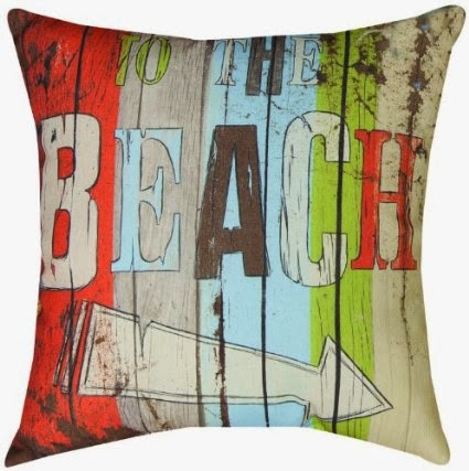 Manual Climaweave Indoor/Outdoor Square Decorative Throw Pillow, 18-Inch, To The Beach