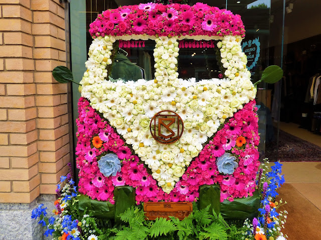 Floral installation in Duke of York Square, London, for Chelsea in Bloom 2018 free flower festival