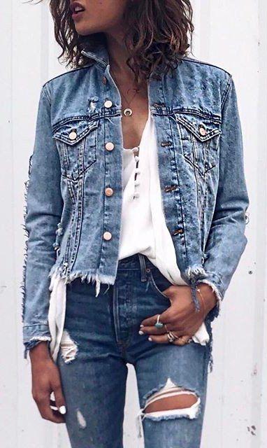 denim on denim + white blouse
