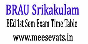 BRAU Srikakulam BEd 1st Sem Exam Time Table 2017