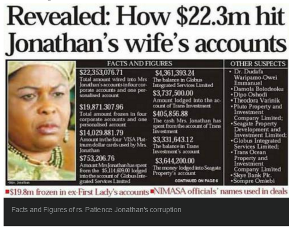 Image result for PATIENCE JONATHAN BANK ACCOUNT