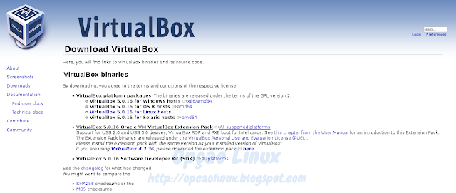 VirtualBox - Download do Oracle VM VirtualBox Extension Pack