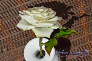 Белая роза. Керамическая флористика.