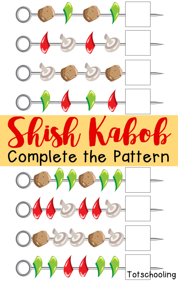 FREE printable barbecue math activity for kids to complete the patterns on the shish kabobs. Perfect summer activity!