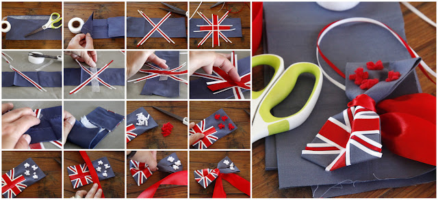 Step-by-step making a dog bow tie with ribbon New Zealand flag