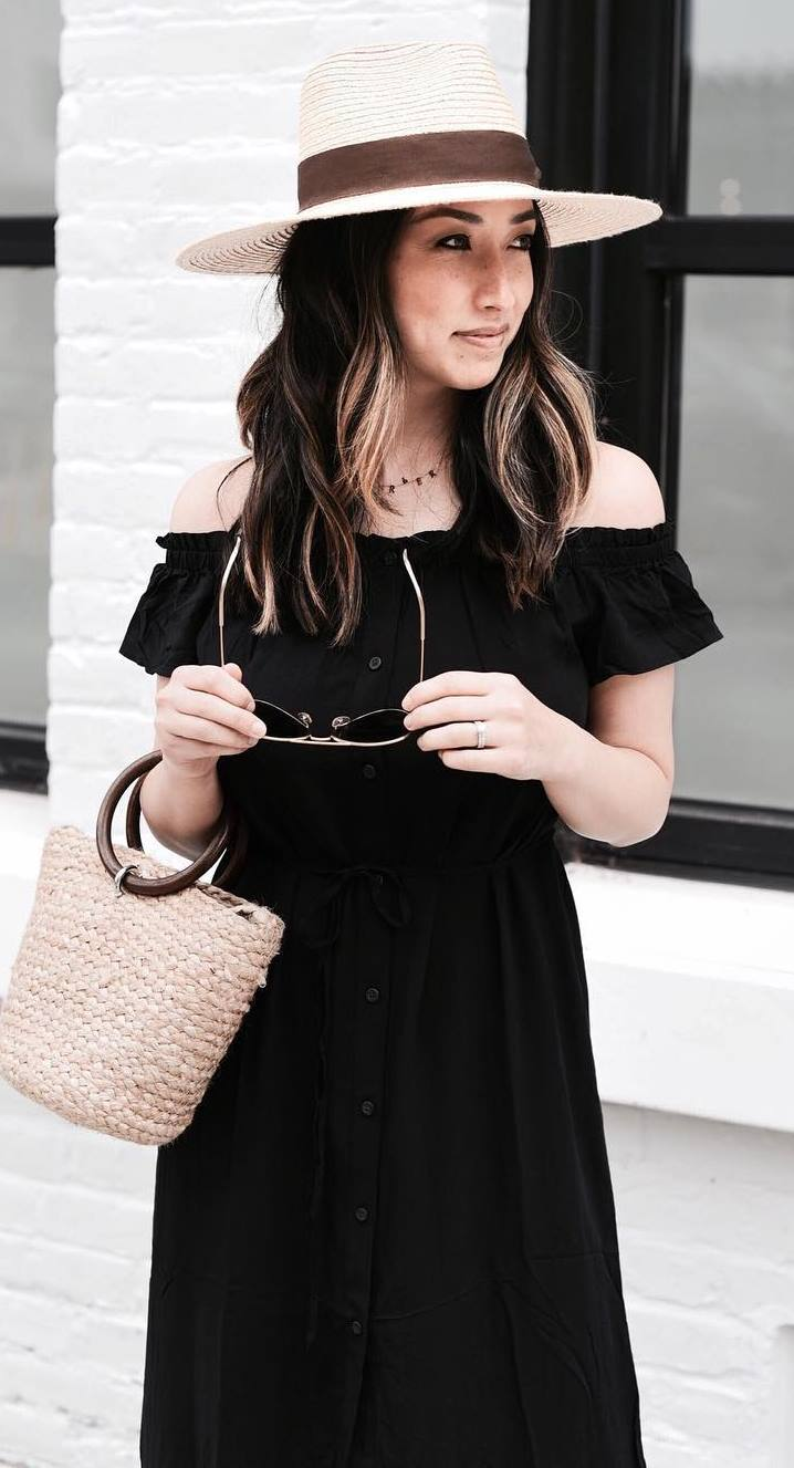trendy summer outfit / hat + black off shoulder dress + bag