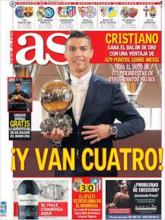portada As balón de oro 2016 Cristiano Ronaldo