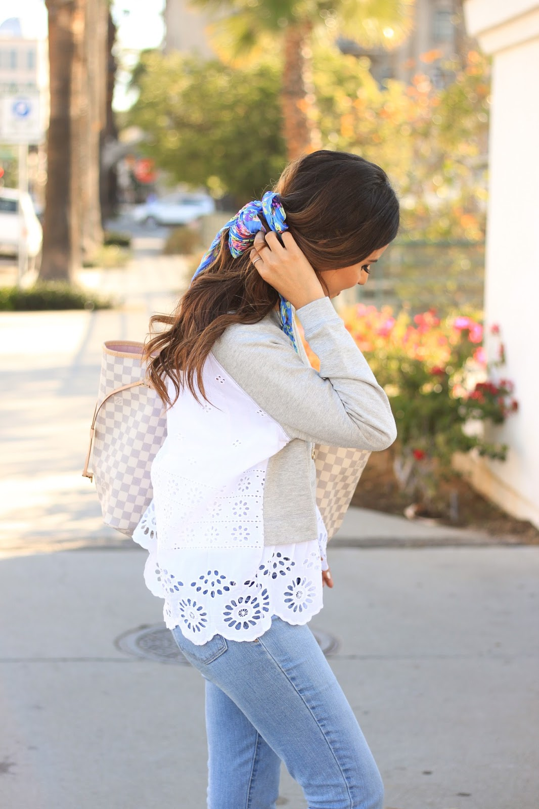 Floral hair scard in ponytail for cute spring outfit