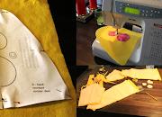 Fotocollage van patroontje Bumba-hoedje en detail applicatie Bumba-pak om zelf te maken