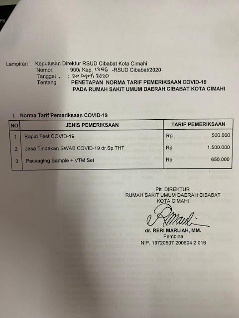 biaya test covid dan swab