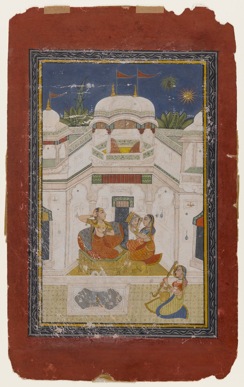 Bilavala Ragini, A Lady Grooming Herself in Preparation for a Romantic Tryst - Miniature Painting Circa 1770-1790