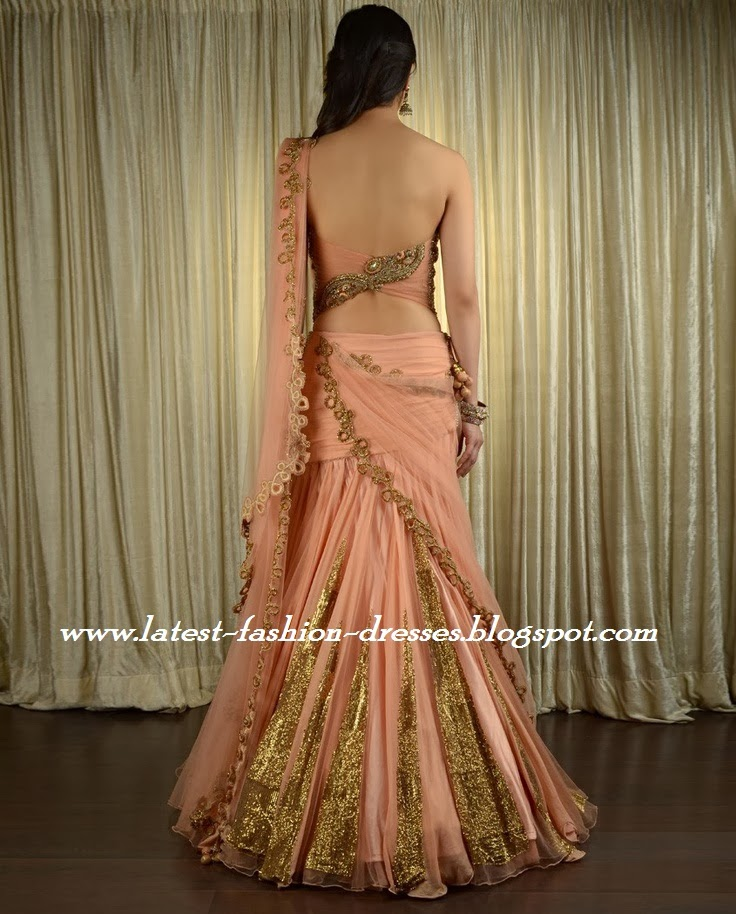 UMBRELLA CUT LEHENGA SAREE WITH STRAP LESS BLOUSE