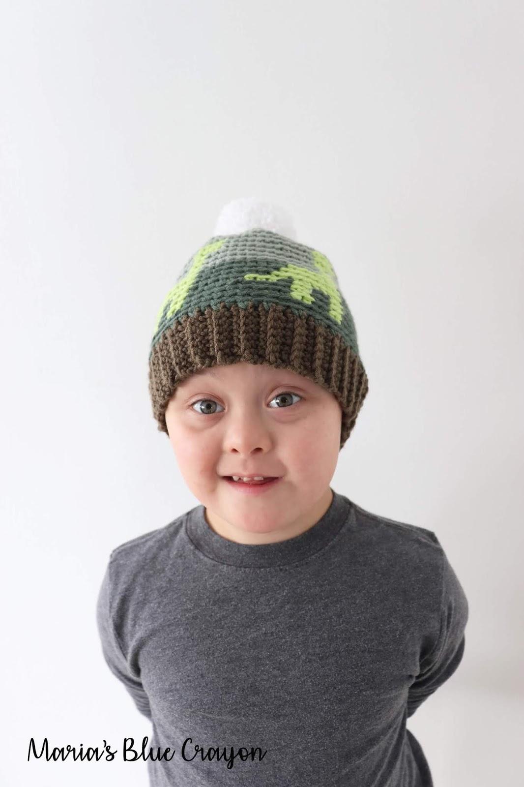 13502cb24 Crochet Dinosaur Hat for Kids - Free Crochet Pattern - Maria's Blue ...