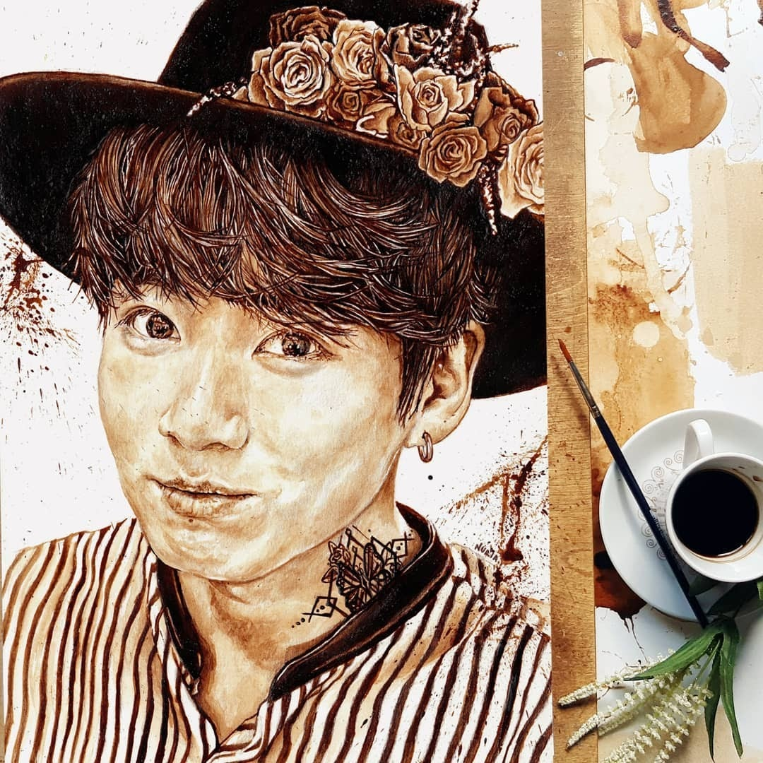 10-Painting-of-Jungkook-Nuria-Salcedo-Detailed-Portrait-Paintings-Using-Coffee-www-designstack-co