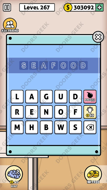 The answer for Escape Room: Mystery Word Level 267 is: SEAFOOD
