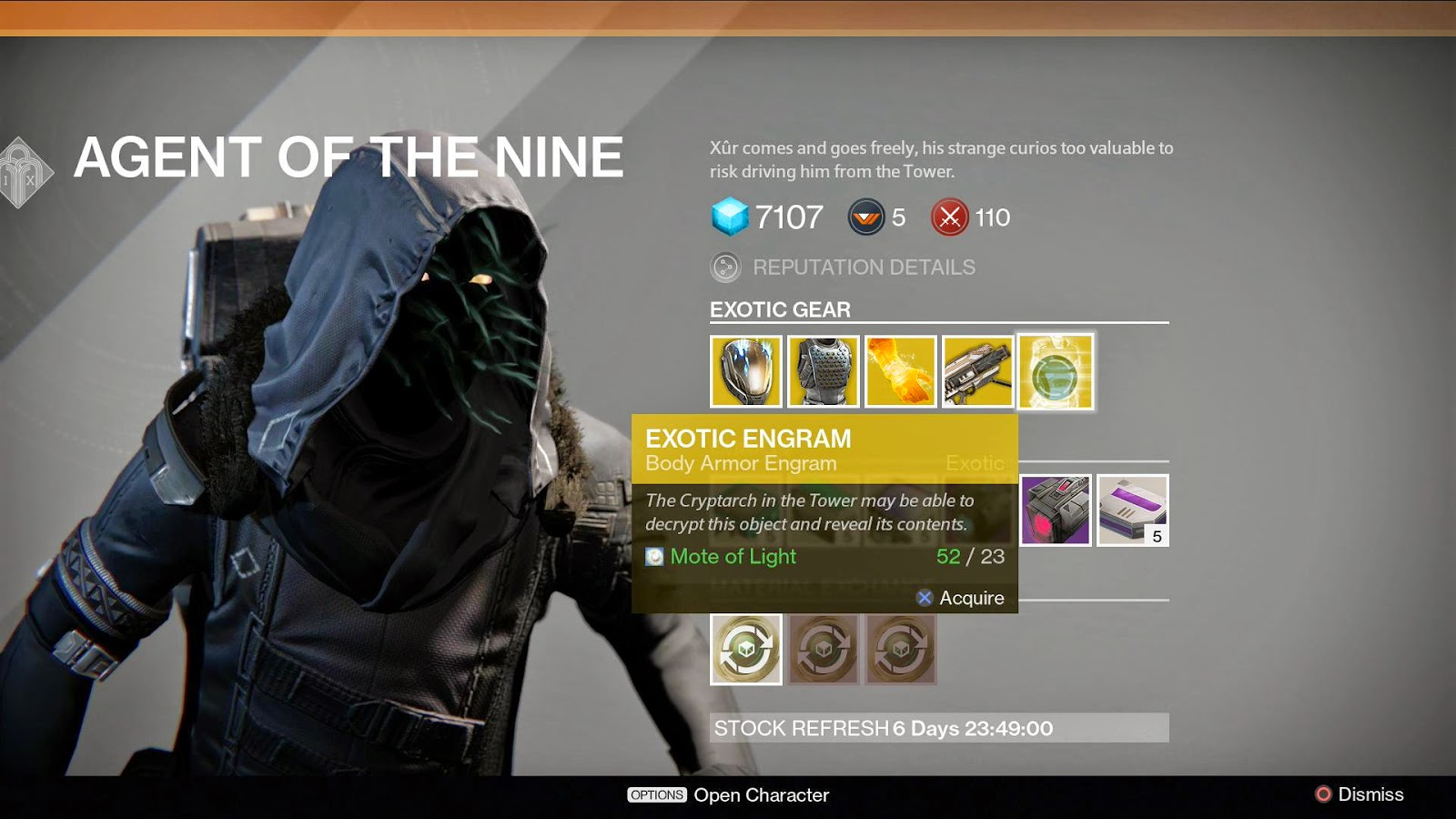 De nivel 110 agent of the nine from destiny in destiny xur is a hooded