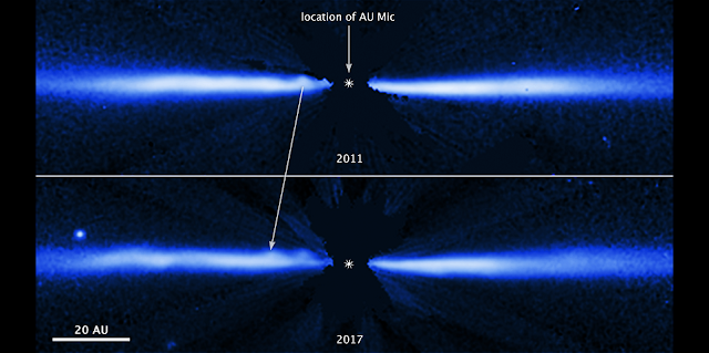 These two NASA Hubble Space Telescope images, taken six years apart, show fast-moving blobs of material sweeping outwardly through a debris disk around the young, nearby red dwarf star AU Microscopii (AU Mic). Red dwarfs are the most abundant and longest-lived stars in our Milky Way galaxy. AU Mic is approximately 23 million years old. Credit: NASA, ESA, J. Wisniewski (University of Oklahoma), C. Grady (Eureka Scientific), and G. Schneider (Steward Observatory)
