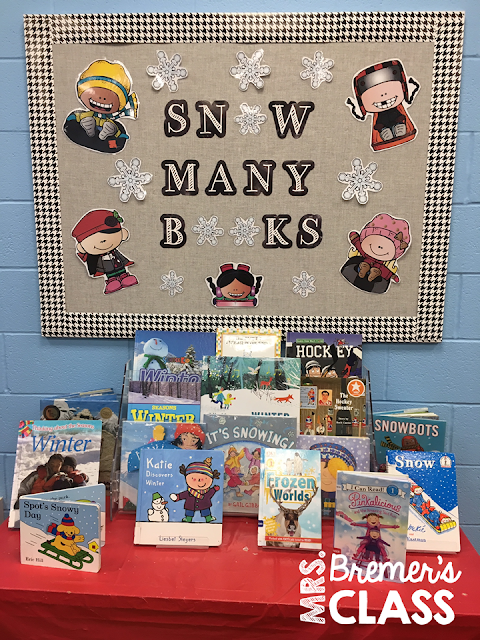 'Snow Many Books' winter themed book display for a library or classroom. #winter #winterbulletinboard #winterbooks #picturebooks #kindergarten #library #classlibrary #1stgrade #2ndgrade #classbooks