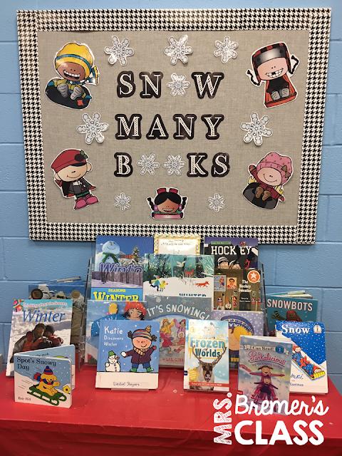 'Snow Many Books' winter themed book display for a library or classroom. #winter #winterbulletinboard #winterbooks #picturebooks #kindergarten #library #classlibrary #1stgrade #2ndgrade #classbooks