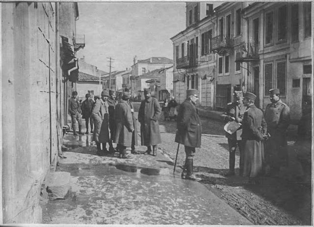In the streets of Bitola (Monastir) - March 1917. Serb Colonel Vasitch after the bombing