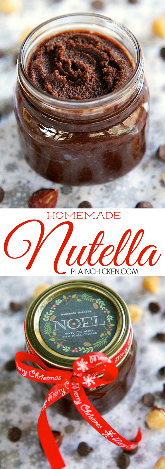 Homemade Nutella - chocolate, cream, butter and hazelnuts. SO easy! Tastes better than the original! Makes a great holiday gift!