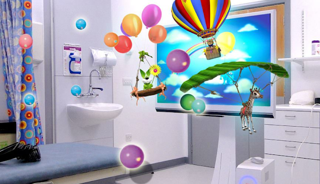 a hospital room with virtual reality images.