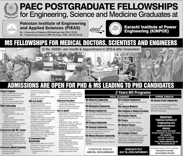 Admission open PAEC Postgraduate Fellowship 2016 for Different Subjects