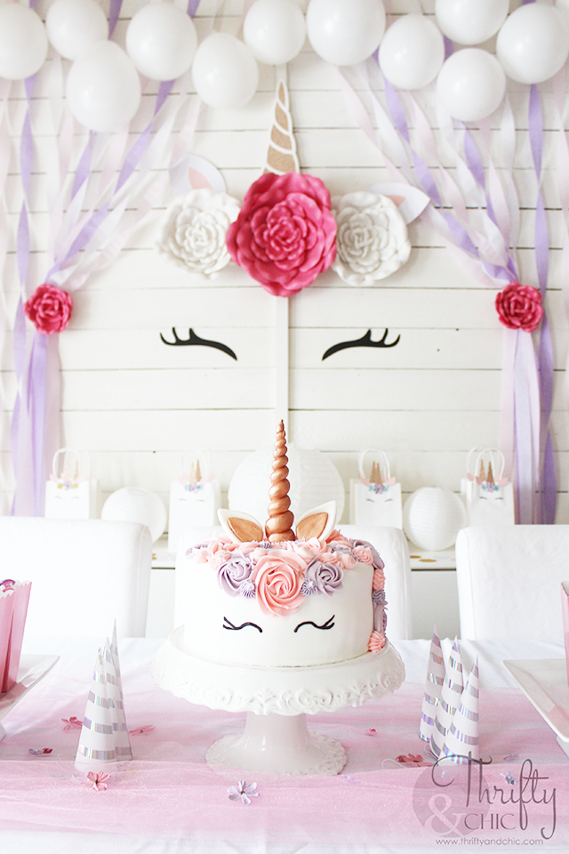 DIY Unicorn Party Ideas Cake Horn Birthday