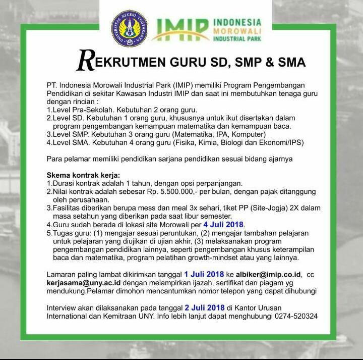 Rekrutmen Guru Sd Smp Sma Imip 2018 Gurungeblog