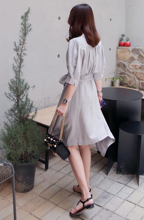 Belted Surplice Neck Dress