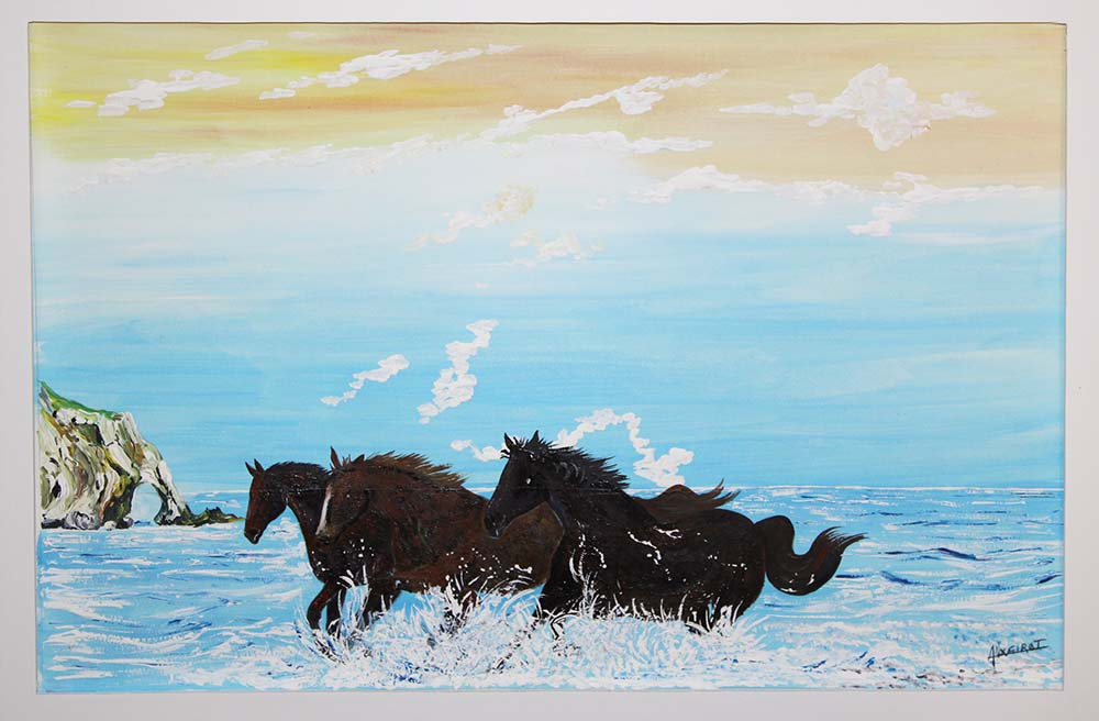 alexandre girot artiste peintre en vaucluse les chevaux painting 380 euros. Black Bedroom Furniture Sets. Home Design Ideas